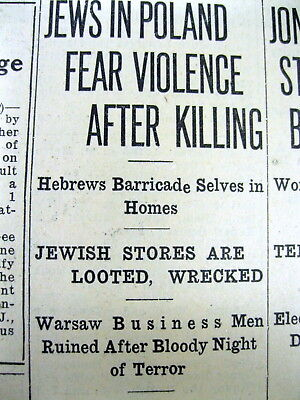 1937 newspaper JEWS Judaica HOLOCAUST Anti-Semitic riot in Brest-Litowsk POLAND