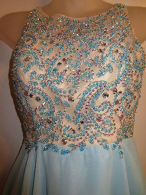Custom Made Dress Gown Cinderella Rhinestone Crystal Sequin Sky Blue Prom Formal Custom Made Prom Dress