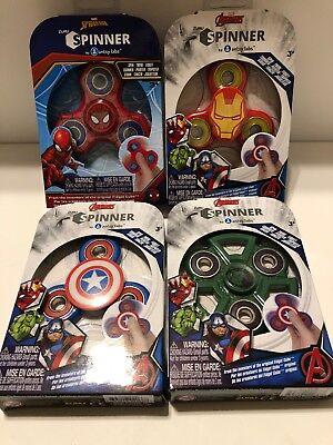 4 Pack Marvel Avengers Fidget Spinners Iron Man, Spider Man, Capt America & Hulk