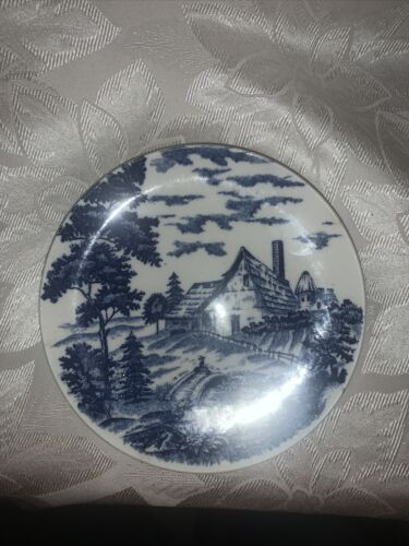 Vintage Blue And White Japan Farmhouse Scenery Dinner Plate. - $4.75
