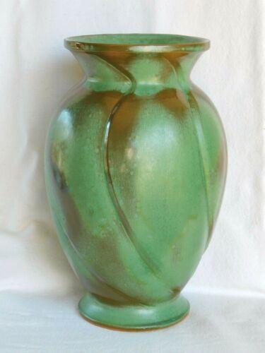 Vintage Frankoma Pottery, Large 11 inch Spiral Vase #73, Ada Clay, Prairie Green