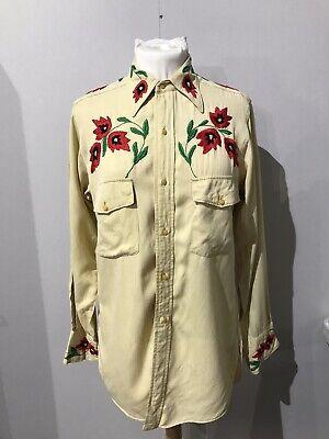 1940s Men's Shirts, Sweaters, Vests 1940s Mens Womens Gaberdine Embroided Shirt $173.36 AT vintagedancer.com
