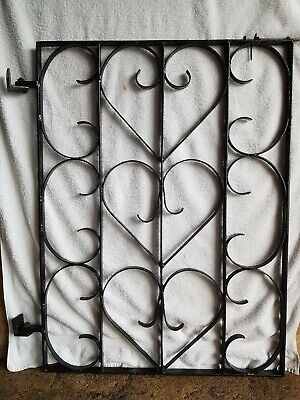 beautiful Black single Wrought Iron Gate 70cms wide with hinges and slide latch
