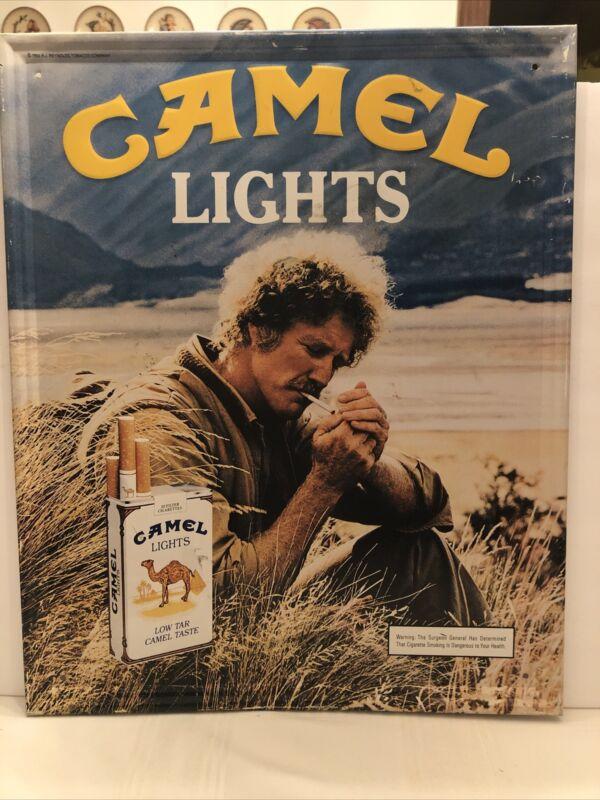 """Vintage 1983 Metal Camel Lights Cigarette AD Sign 21 1/2""""x17 1/2"""" Man Cave"""