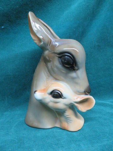 "Vintage Royal Copley Deer And Fawn Glossy Ceramic Vase Planter 9.25"" Brown Tan"