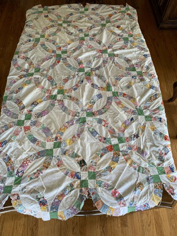 Vtg Quilt Top Hand Sewn Wedding Ring
