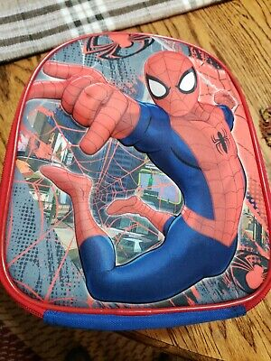 SPIDER-MAN~3D Elevated Marvel School Lunch Box Soft Blue/Red Insulated Inside