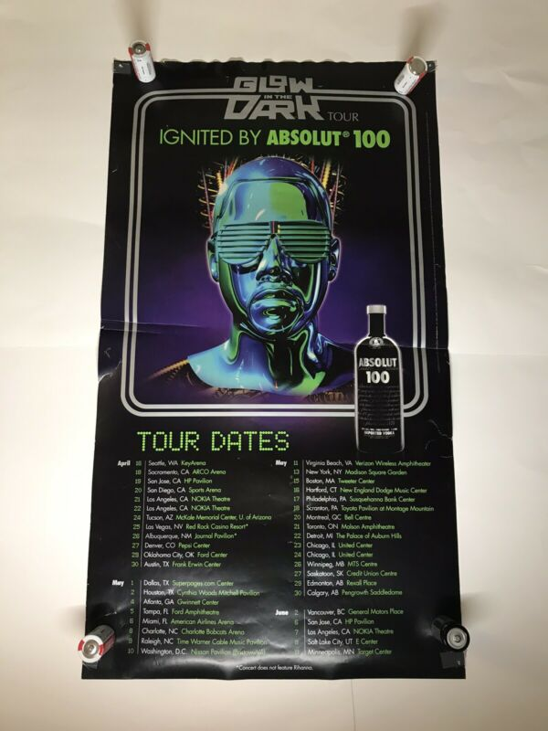 Kanye West Glow In The Dark - Authentic Tour Poster / black light reactive