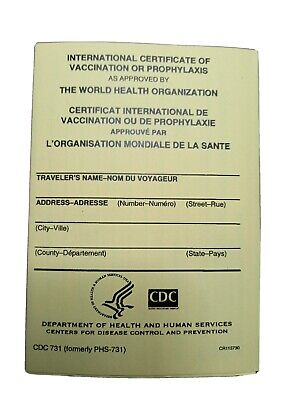 OFFICIAL International Certificate of Vaccination, CDC-731, Yellow Card, NEW