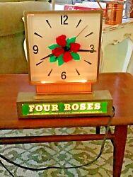 Vintage Four Roses Whiskey plastic front light up bar clock man cave garage bar