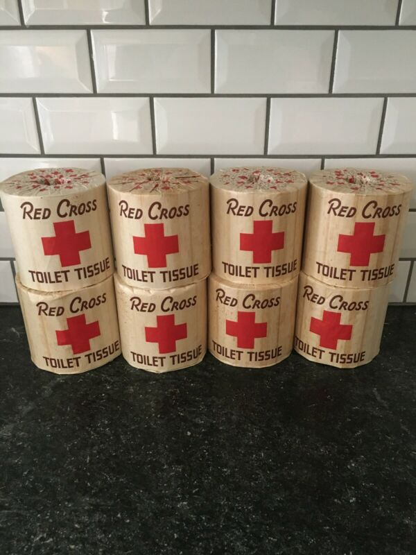 8 Rolls of Antique Vintage A.P.W. RED CROSS Brand Toilet Paper Tissue