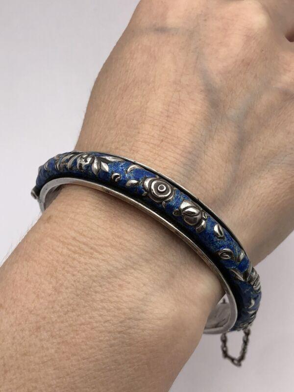 antique Chinese Sterling Silver Enameled Bracelet Signet