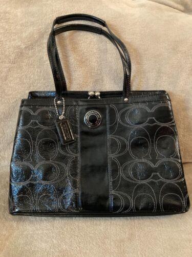 COACH F19215 Black patent Leather Logo Kisslock Carryall Purse Bag Stitched C
