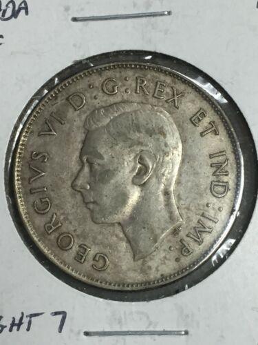 1947 CANADA SILVER HALF DOLLAR  STRAIGHT 7