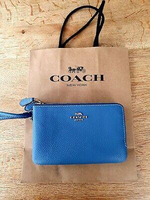 New Coach F87590 Double corner zip wristlet Pebble Leather Sky Blue