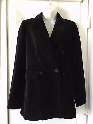 NWT ZARA Woman Black VELVET DOUBLE BREASTED JACKET  BLAZER Fashion Size XS O1449