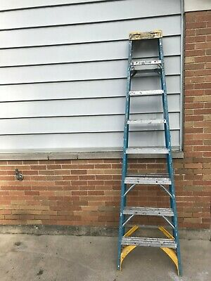 Werner 8 Ft. Aluminum Step Ladder Blue With Paint From Being Used