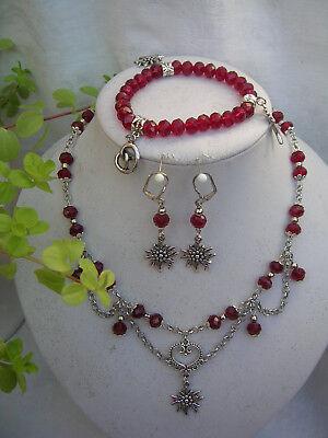 Trachtenschmuck-Set 3-tlg. geschl. Perlen Halskette, Armband, Ohrringe (Trachten Schmuck Perle Halskette)