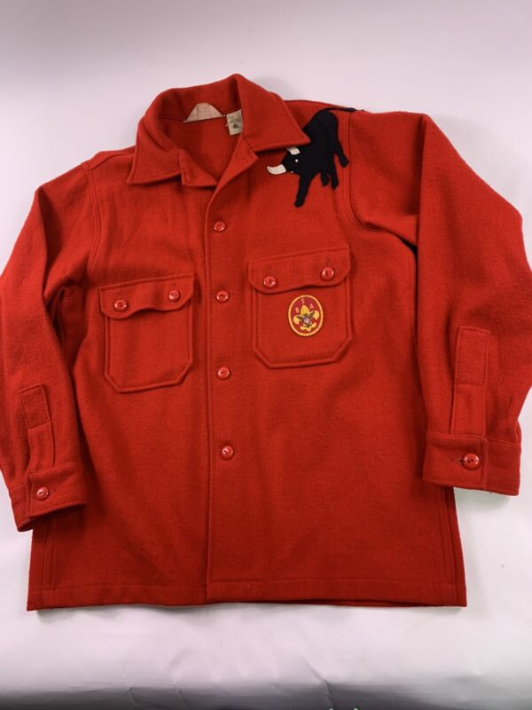 Vtg Boy Scout of America Red Wool Shirt Coat Official Jacket W/ Patches 46 BSA