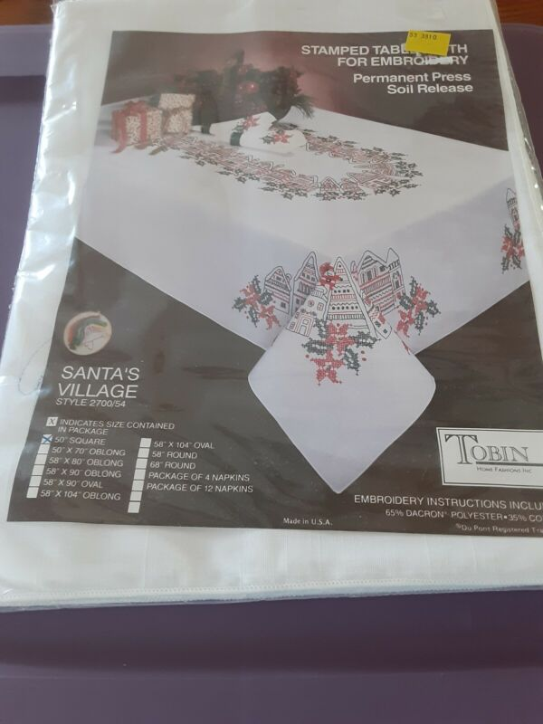 Tobin Stamped for Embroidery Tablecloth Santa