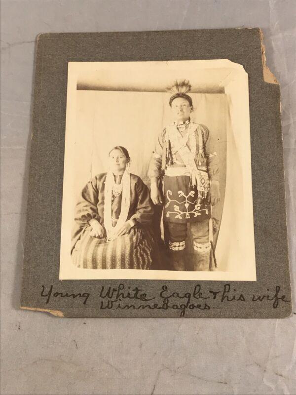 ANTIQUE NATIVE AMERICAN WINNEBAGO WHITE EAGLE & HIS WIFE CABINET CARD PHOTOGRAPH