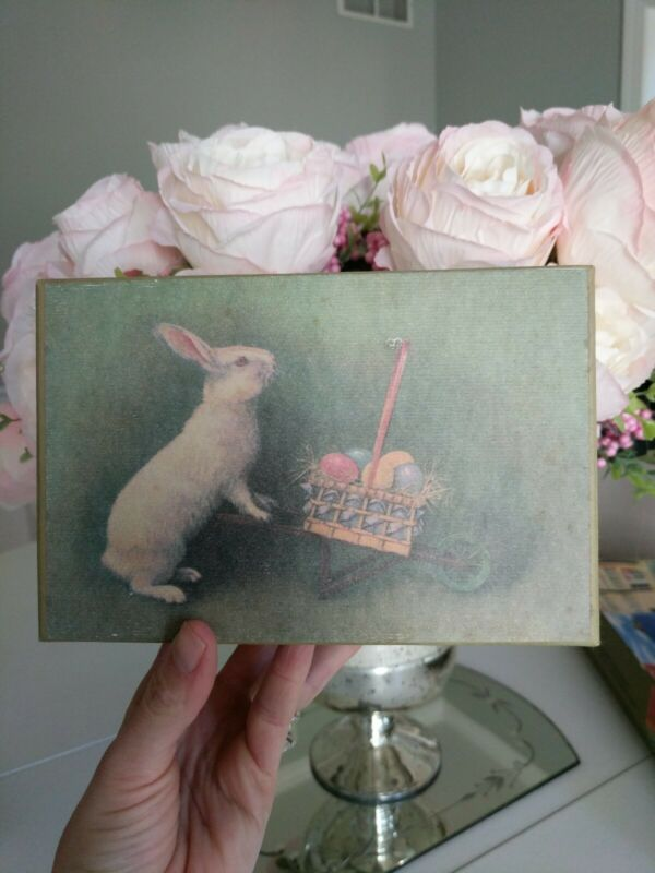 primitive  Easter Bunny Decoration Box Rabbit Shabby Style Spring Decor