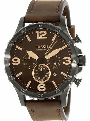 Fossil Men's Nate JR1487 Brown Leather Japanese Quartz Fashion Watch