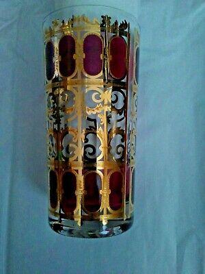 One 22 kt Gold CULVER Cranberry Scroll Design Highball Glass Replacement (Gold Highball Glass)
