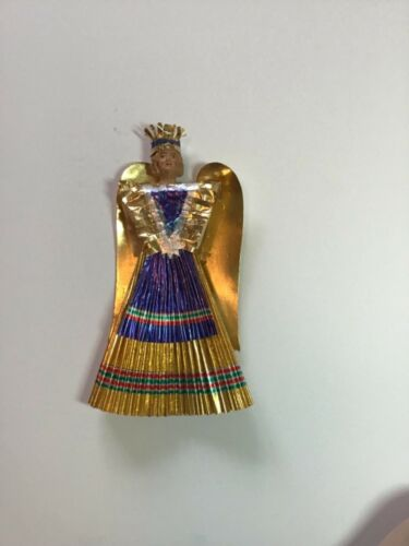 Antique Christmas Nuremberg Gold & Blue Angel 1920-1930s in Excellent Condition