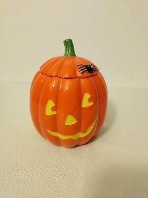 Pumpkin COOKIE JAR Jack O'Lantern HALLOWEEN Ceramic Hallmark Brand Rare