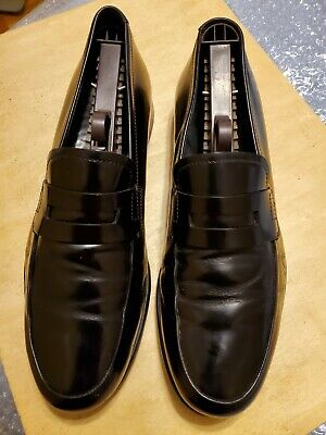 Prada Men's slip on Shoes Size 9 Black Leather Slip On Loafer vintage