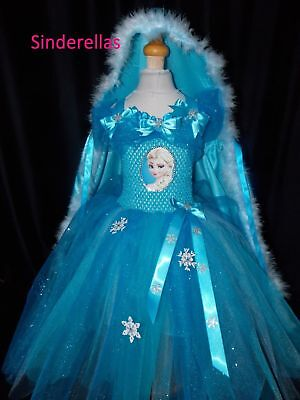 Elsa Frozen (Inspired) BIG Sparkly Party Tutu Dress & cape Handmade ages 1-12 ()