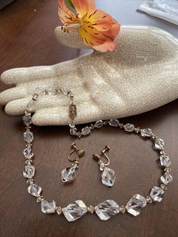 Vintage Victorian GOLD FILLED Earrings Necklace SET POLISHED QUARTZ INCREDIBLE