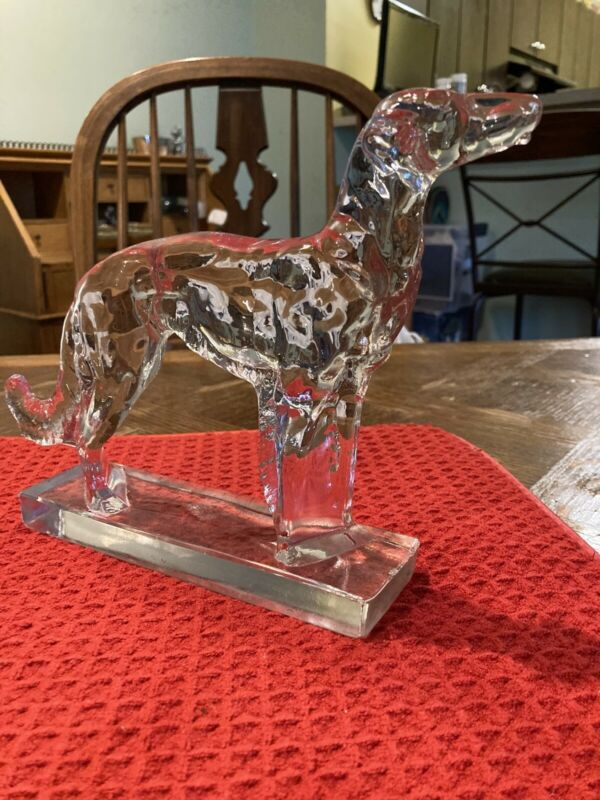 Fantastic Glass Grey Hound On Glass Platform Have A Very Small Nic On Side.