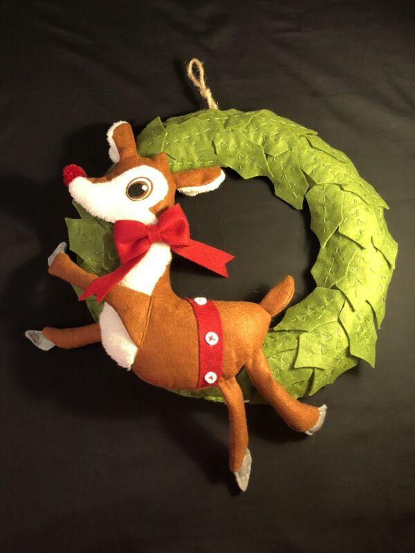 "Pottery Barn Kids Reindeer Holly Leaves Felt Christmas Holiday 16"" Wreath"