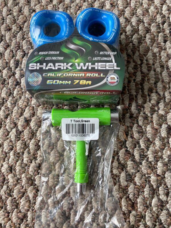 Shark Wheels Longboard Skateboard Sidewinder 60mm 78a Blue Free T Tool New!