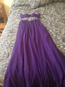 Purple long strip less dress new size small ex small