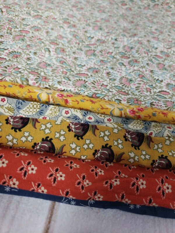 6 Vintage Cotton Quilt Fabric Scraps Country Floral Remnants Assorment Gold Blue