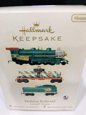 2008 Lionel Trains Holiday Railroad Die-Cast Set of 3 Hallmark Keepsake Ornament