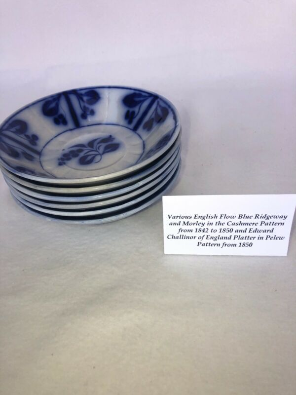 "19th Century English Flow Blue Bowls 6"" Nice Condition"