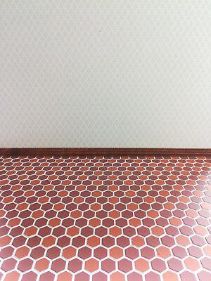 Dollhouse Miniature Tile Flooring Terra Cotta Hexagon Faux Embossed 1:12 Scale