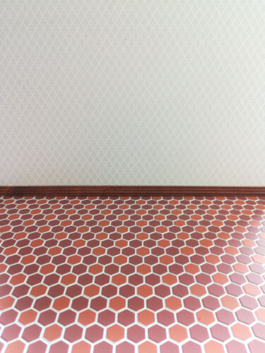 Dollhouse Miniature Tile Flooring Terra Cotta Hexagon Faux Embossed 1:12 Scale