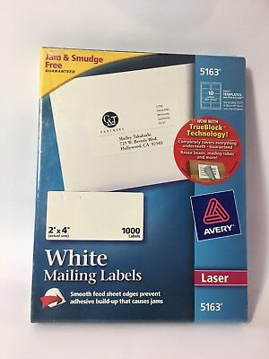 Avery Shipping Labels With Trueblock Technology Laser 2 X 4 White 1000box 5163
