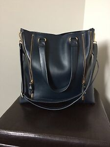 Navy blue Danier Leather large tote purse