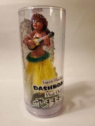 "KC Hawaii Hula Girl Dashboard Doll - Ukulele Yellow Grass Skirt - 6.5"""
