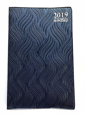 2019 Blue Textures Monthly Day Planner Appointment Book Calender Organizer 5x8