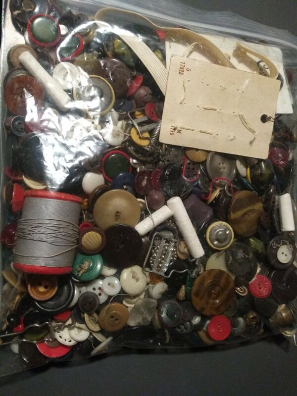 HUGE Lot Of Unsorted Vintage Buttons and Button Accessories - Estate Sale 2+ lb