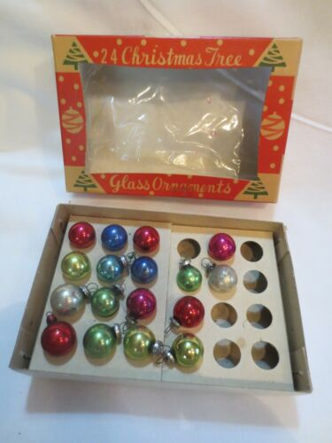 LOT 17 VTG Christmas Feather Tree Mini Mercury Glass Ball Ornaments 14mm Japan