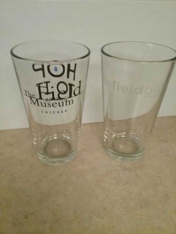 Lot of 2 The Field Museum of Chicago Pint Glasses HOP TO IT-THE FIELD BISTRO