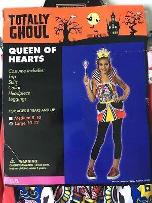Queen of Hearts Halloween Costume Girls Large 10-12 Years Old Totally Ghoul - 10 Year Old Halloween Costumes